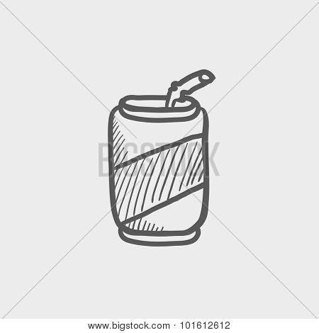 Soda can with drinking straw sketch icon for web, mobile and infographics. Hand drawn vector dark grey icon isolated on light grey background.