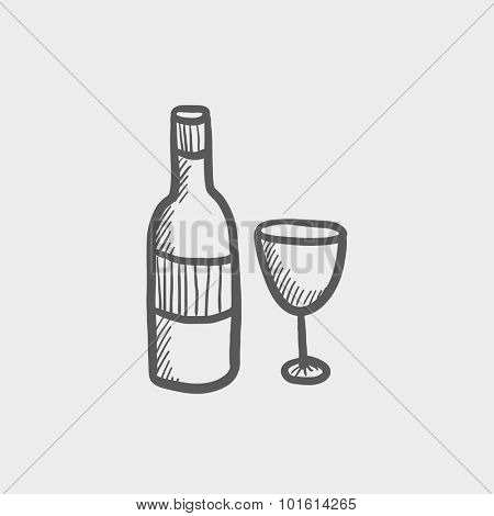 A bottle and a glass sketch icon for web, mobile and infographics. Hand drawn vector dark grey icon isolated on light grey background.