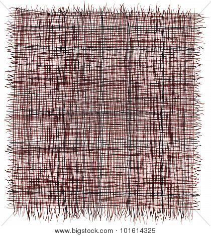 Hand drawn lines in red ink, resembling loose weave fiber