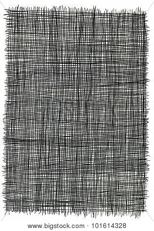 Hand drawn lines in black ink, resembling loose weave fiber