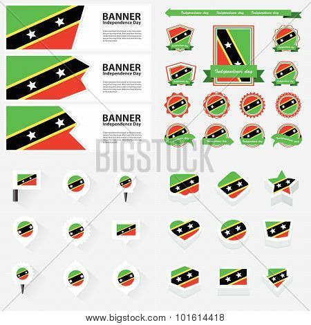 St Kitts & Nevis Independence Day, Infographic, And Label Set.