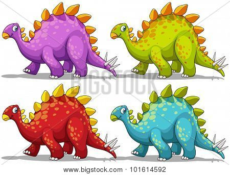 Dinosaur in four different colors illustration