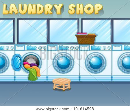 Scene in laundry shop illustration