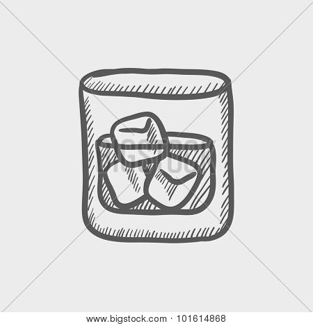 Glass of water with ice sketch icon for web, mobile and infographics. Hand drawn vector dark grey icon isolated on light grey background.