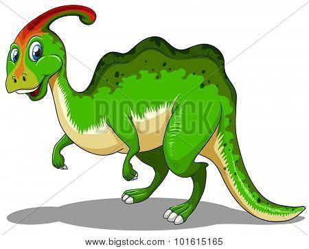 Green dinosaur standing on white illustration