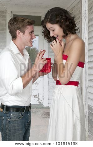 Man Giving A Gift To A Woman