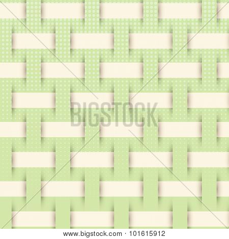 Braided Weave Pattern, Green Background Vector