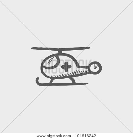 Air ambulance sketch icon for web, mobile and infographics. Hand drawn vector dark grey icon isolated on light grey background.
