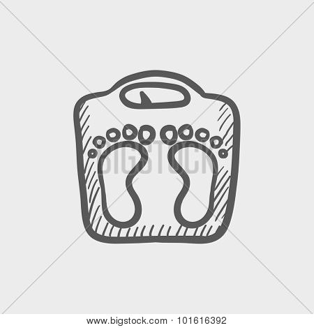 Weighing scale sketch icon for web, mobile and infographics. Hand drawn vector dark grey icon isolated on light grey background.
