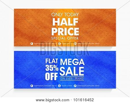 Creative Mega Sale website header or banner set with special discount offer on every brand for limited time.