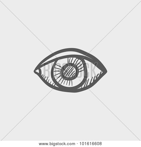 Eye sketch icon for web, mobile and infographics. Hand drawn vector dark grey icon isolated on light grey background.