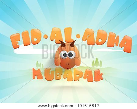 Greeting card design with illustration of a goat on blue rays background for Islamic Festival of Sacrifice, Eid-Al-Adha celebration.