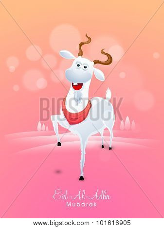 Cute smiling goat on shiny nature view background for Islamic Festival of Sacrifice, Eid-Al-Adha celebration.
