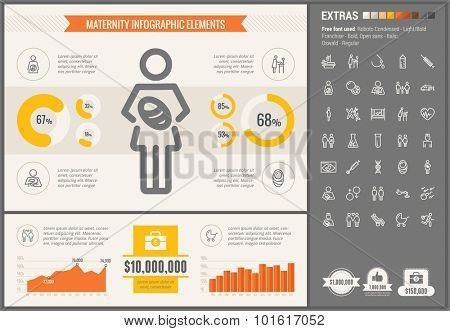 Maternity infographic template and elements. The template includes illustrations of hipster men and huge awesome set of thin line icons. Modern minimalistic flat vector design.