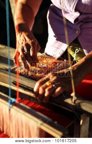 Unidentified Old Women Weaving Traditional Thai Fabric, Chiang Mai, Thailand