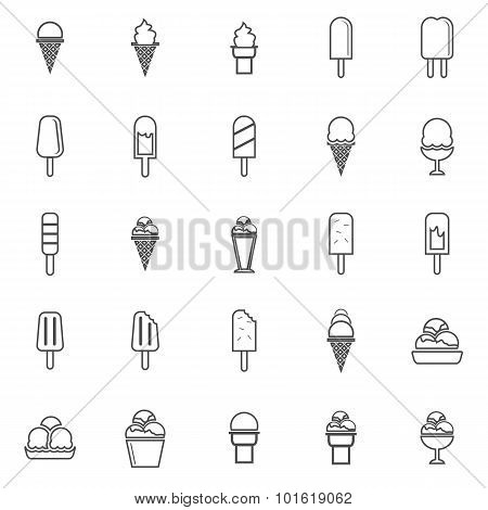 Ice Cream Line Icons On White Background