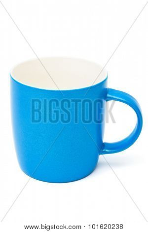beautiful blue cup on a white background