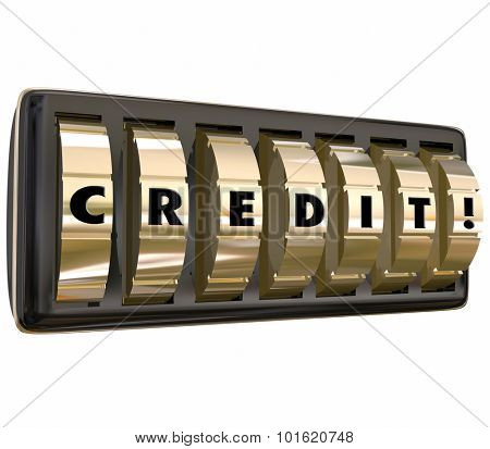 Credit word with letters on gold safe or lock combination dials to illustrate applying and being accepted for a loan, mortgage or account funding