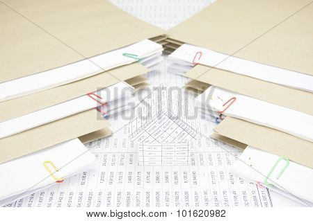 House Between Stack Paperwork Report With Envelope