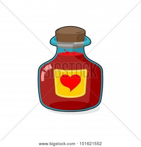 Love Potion Bottle. Glass Vessel With Wooden Stopper. Sticker Heart Symbol. Magic Vessel In A Cartoo
