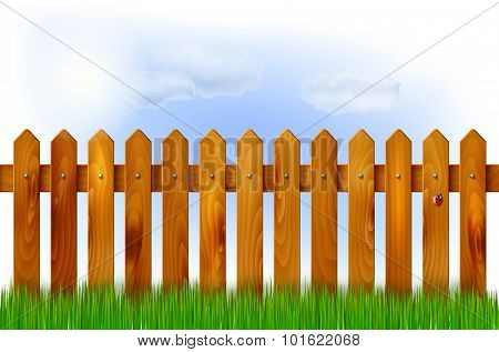 Wooden Fence, Grass And Sky