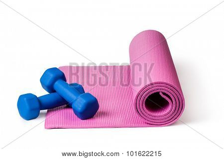 Yoga mat and dumbbells Isolated on white background