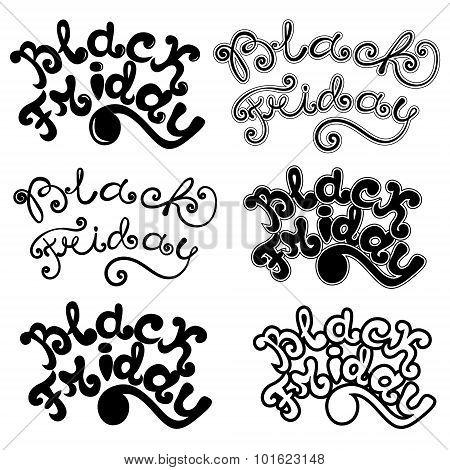 Black Friday Calligraphic Designs. Black Friday Lettering Set.