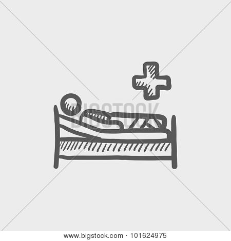 Patient lying on the bed sketch icon for web, mobile and infographics. Hand drawn vector dark grey icon isolated on light grey background.