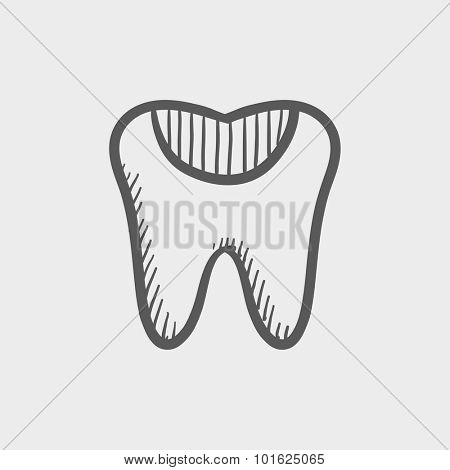 Tooth decay sketch icon for web, mobile and infographics. Hand drawn vector dark grey icon isolated on light grey background.