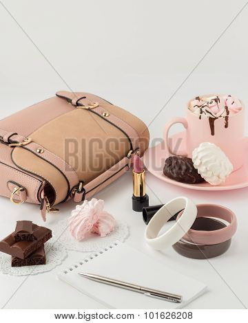 Hot Chocolate With Marshmallows And Women's  Fashion Accessories On A White Background.