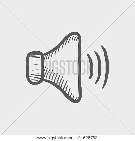 High speaker volume sketch icon for web, mobile and infographics. Hand drawn vector dark grey icon isolated on light grey background.