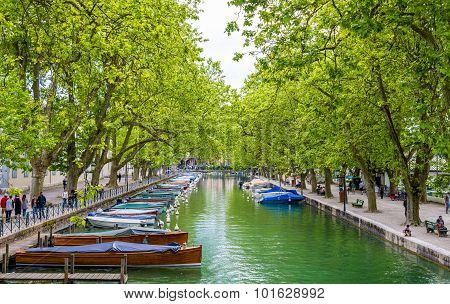 Annecy, France - May 24: View Of Canal Du Vasse On May 24, 2015 In Annecy, France. The Canal Was Bui