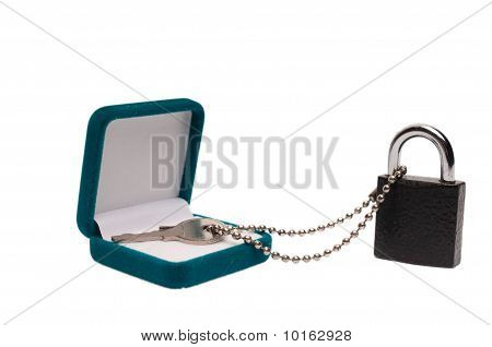 Key With Padlock And Present Box Isolated On White
