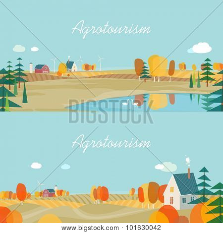 Set of horizontal banners, agro-tourism, agricultural development. Autumn