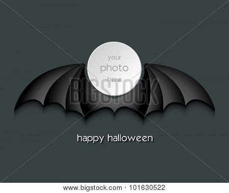 Halloween Bat Silhouettes With Place For Your Photo Vector Illustration