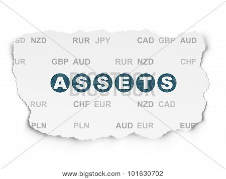 Currency concept: Assets on Torn Paper background
