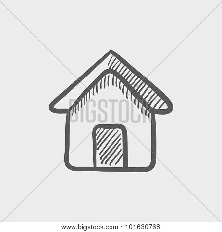 House sketch icon for web, mobile and infographics. Hand drawn vector dark grey icon isolated on light grey background.