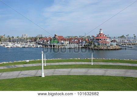 LONG BEACH, CA - FEBRUARY 21, 2015: Shoreline Village. The village is a popular tourist destination in Southern California featuring restaurants and other family friendly activities.