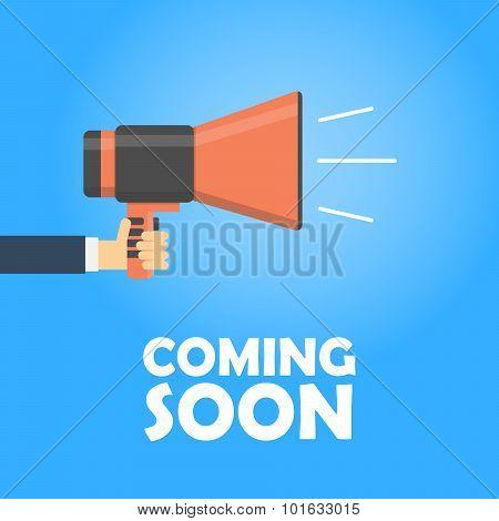 Coming Soon Vector Banner. Announcement Megaphone