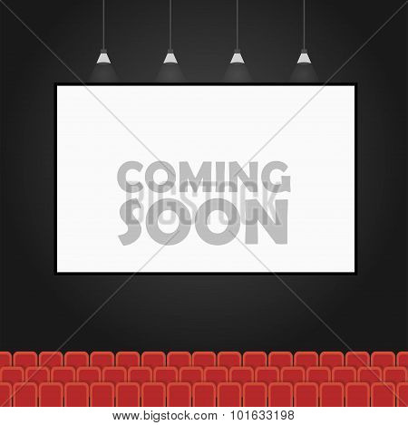 Coming Soon Theater Vector Banner Concept
