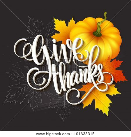 Hand drawn thanksgiving greeting card with leaves, pumpkin and spica. Vector illustration