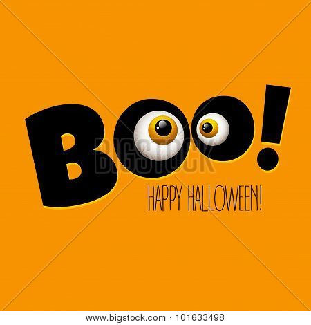 Funny Halloween greeting card monster eyes. Vector illustration