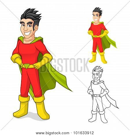 Cool Super Hero Cartoon Character with Cape and Standing Pose