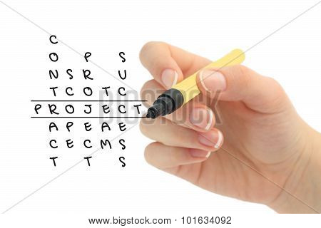 Project in solving crossword cuzzle