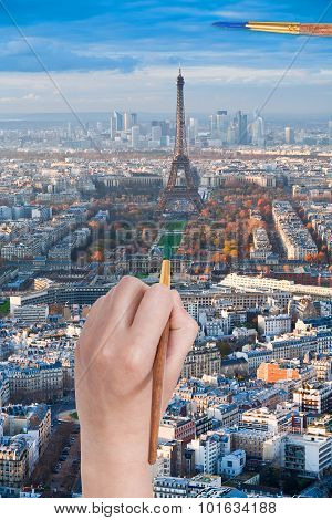 Paintbrush Paints In Green Colour Champ De Mars