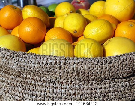 Ripe Orange And Yellow Sicilian Lemons In A Box