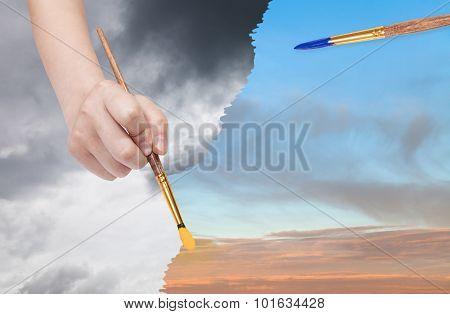 Paintbrush Paints Sunset Sky Instead Of Rainy Clouds