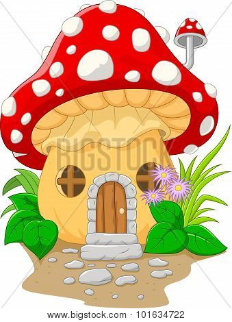Cartoon mushroom house.vector illustration