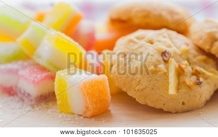 Jelly Squares Multicolored And Cookies