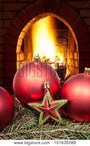 Red Star And Christmas Balls With Fireplace